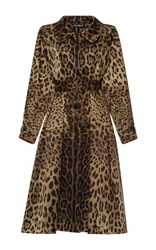 Dolce And Gabbana Leopard Silk Trenchcoat Brown