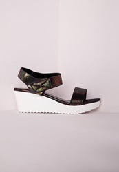 Missguided Sport Lux Wedge Sandal Black Snake Black
