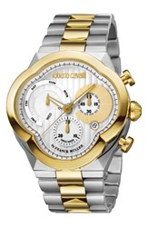 Roberto Cavalli Men's By Franck Muller Clover Chronograph Bracelet Watch 47Mm Silver White Guilloche Gold