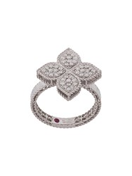 Roberto Coin 18Kt White Gold Princess Flower Diamond And Ruby Ring