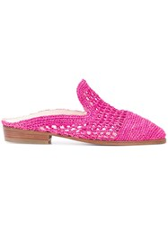 Robert Clergerie Woven Slides Pink And Purple