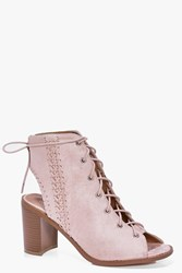Boohoo Plaited Side Peeptoe Lace Up Shoe Boot Nude