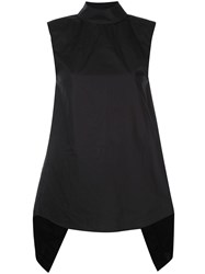 Vera Wang Open Back Poplin Top Black