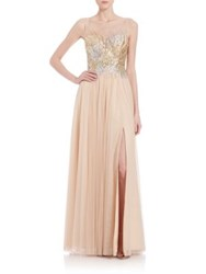 Basix Black Label Beaded Illusion Gown Champagne