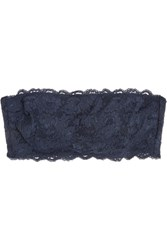 Cosabella Flirtie Cotton Blend Lace Bandeau Bra Navy