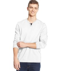 Alfani Big And Tall Long Sleeve Split Crewneck T Shirt Bright White