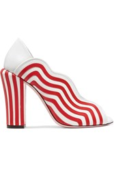 Fendi Striped Leather Pumps Red
