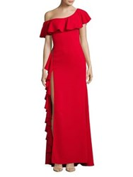 Nicole Bakti Ruffled One Shoulder Slit Gown Red