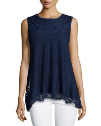 Max Studio Sleeveless Lace Trim Blouse Navy Navy