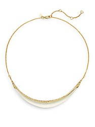 Alexis Bittar Lucite And Swarovski Crystal Crescent Collar Necklace Ivory