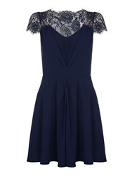 Yumi Lace Sleeve Party Dress Dark Blue
