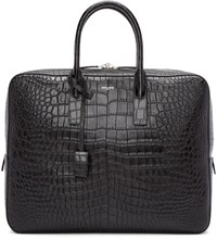 Saint Laurent Black Croc Embossed Briefcase