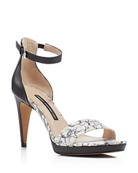 French Connection Nata Printed Ankle Strap Open Toe High Heel Sandals White Black