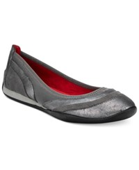 Adrienne Vittadini Voula Flats Women's Shoes Pewter Pebble Metallic