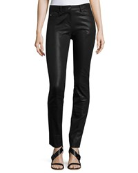 St. John Bardot Coated Denim Slim Jeans Black