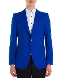 Alexander Mcqueen Solid Periwinkle Wool And Silk Jacket