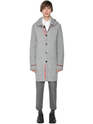 Thom Browne Hooded Wool And Cashmere Knit Duffle Coat Light Grey