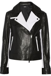 Dkny Convertible Leather And Stretch Tech Jersey Biker Jacket Black