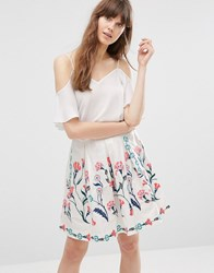 Vero Moda Floral Flippy Skirt Snow White