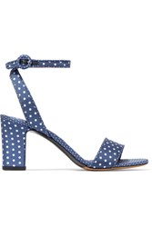 Tabitha Simmons Leticia Polka Dot Twill Sandals Navy