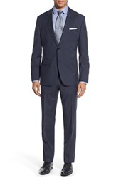Boss Men's 'Johnstons Lenon' Trim Fit Check Wool Suit Navy