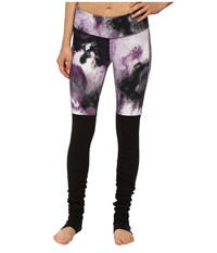 Alo Yoga Goddess Ribbed Legging Purple Pennant Smoke Print Black Women's Workout