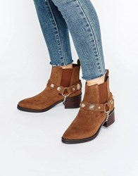 Eeight Odell Western Embellished Suede Heeled Ankle Boots Brown Suede