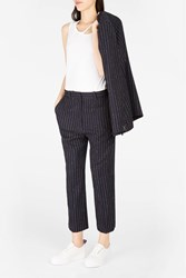 Atea Oceanie Women S Pinstripe Cropped Trousers Boutique1 Navy