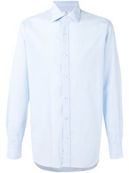 Barba Classic Shirt Men Cotton Linen Flax 38 Blue