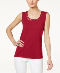 Karen Scott Studded Tank Top Only At Macy's New Red Amore