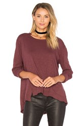 Wilt Slouchy Overlay Shift Long Sleeve Top Burgundy