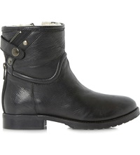Bertie Pardew Warm Lined Leather Ankle Boots Black Leather