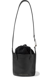 Victoria Beckham Woman Small Textured Leather And Suede Bucket Bag Black
