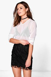 Boohoo Mesh Long Sleeve Top White