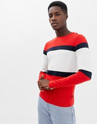 Jack And Jones Originals Knitted Jumper With Sport Stripe Fiery Red
