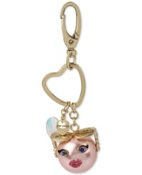 Betsey Johnson Gold Tone Pink Imitation Pearl Sunglasses Emoji Keychain