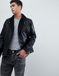 Selected Homme Leather Biker Jacket With Wool Lapel Detail Black
