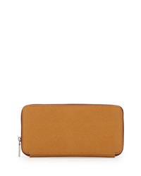 Hobo Lucy Saffiano Zip Around Wallet Wheat