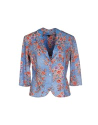 European Culture Suits And Jackets Blazers Women Pastel Blue