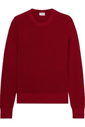 Frame Waffle Knit Cotton And Cashmere Blend Sweater Red