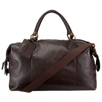 Barbour Leather Explore Holdall Dark Brown