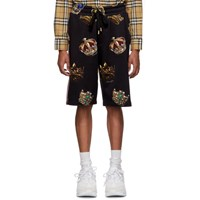 Dolce And Gabbana Black All Over Crowns Shorts