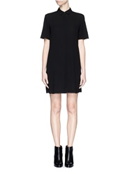 Alexander Wang Silk Collared Shirt Dress Black