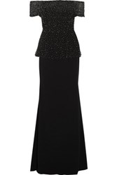 Badgley Mischka Beaded Tulle And Stretch Cady Gown Black