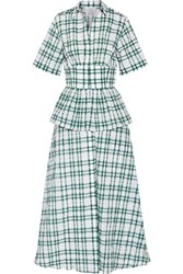 Rosie Assoulin Boogie Woogie Bugle Boy Checked Seersucker Organza Maxi Dress Dark Green