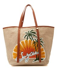 See By Chloe Andy Sunset Embroidered Linen Tote White Multi
