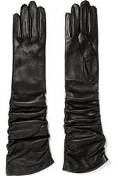 Alexander Mcqueen Ruched Leather Gloves Black