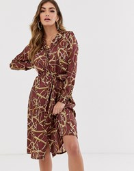 Na Kd Chain Print Shirt Dress Multi