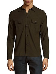 Sandro Solid Cotton Shirt Olive Green