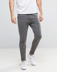 Only And Sons In Anti Fit Trousers In Jersey Sweat Dark Grey